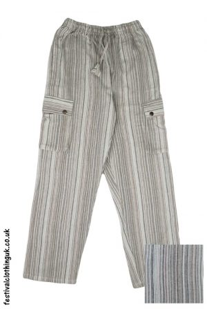 Festival Cargo Trousers Cream and Brown