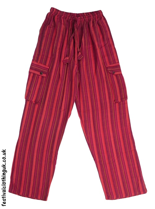 Festival Cargo Trousers Striped Red