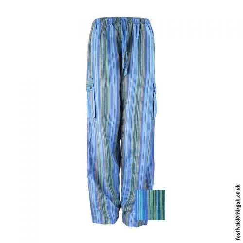 Festival-Cargo-Trousers-Striped-Turquoise-New