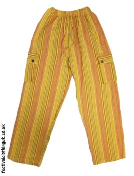Festival Cargo Trousers Striped Yellow