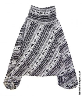 Festival-Harem-Ali-Baba-Trousers-Black-&-White-Elephant-Pattern-1