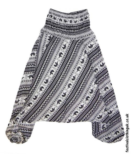 Festival-Harem-Ali-Baba-Trousers-Black-&-White-Elephant-Pattern-1