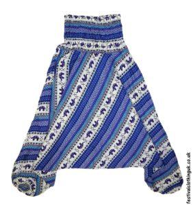 Festival-Harem-Ali-Baba-Trousers-Blue-Elephant-Pattern-1