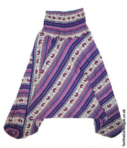 Festival-Harem-Ali-Baba-Trousers-Blue-Pink-Elephant-Pattern-1