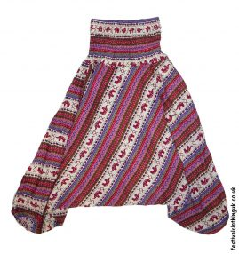 Festival-Harem-Ali-Baba-Trousers-Red-Pink-Elephant-Pattern-1