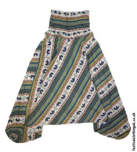 Festival-Harem-Ali-Baba-Trousers-Green-Elephant-Pattern-1
