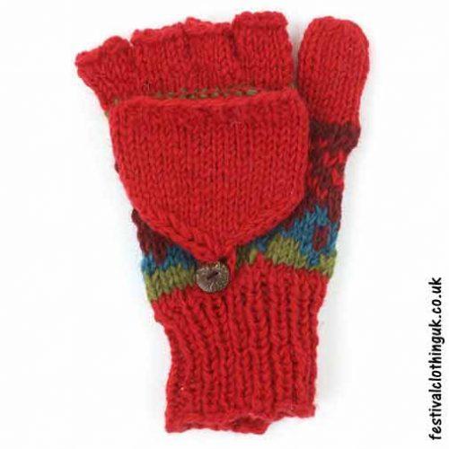 2-in-1-Fingerless-Mitten-Wool-Gloves-Red