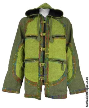 Cotton-Hooded-Festival-Jacket-with-Felt-Trim-Green