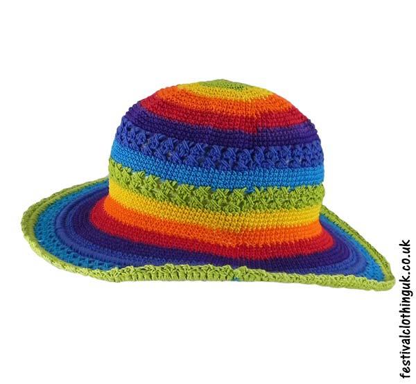 c8a14b59556 Crochet Sun Hat - Rainbow | Festival Hats | The Festiavl Clothing Co