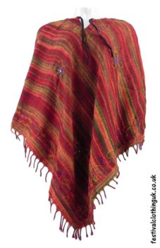 Embroidery-Festival-Poncho-Dark-Red