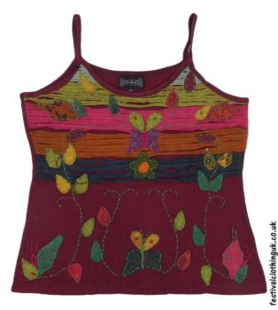 Embroidery-Festival-Vest-Top-Burgundy-Butterfly