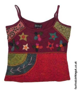 Embroidery-Festival-Vest-Top-Burgundy-Flower