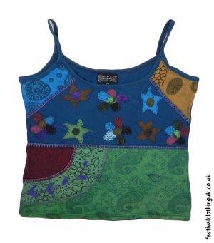 Embroidery Festival Vest Top Dark Teal Flower