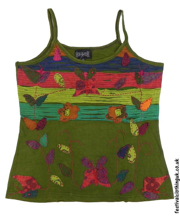 Embroidery-Festival-Vest-Top-Green-Butterfly