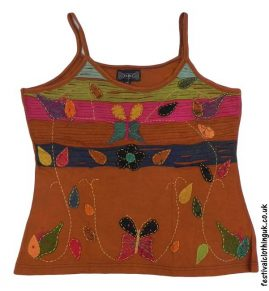 Embroidery-Festival-Vest-Top-Light-Brown-Butterfly