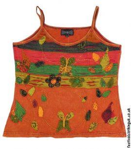 Embroidery-Festival-Vest-Top-Orange-Butterfly