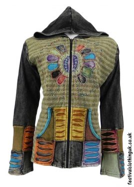 Embroidery-Sun-Hooded-Festival-Jacket-Green