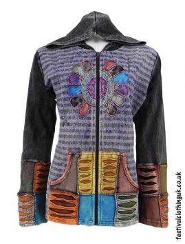Embroidery-Sun-Hooded-Festival-Jacket-Purple