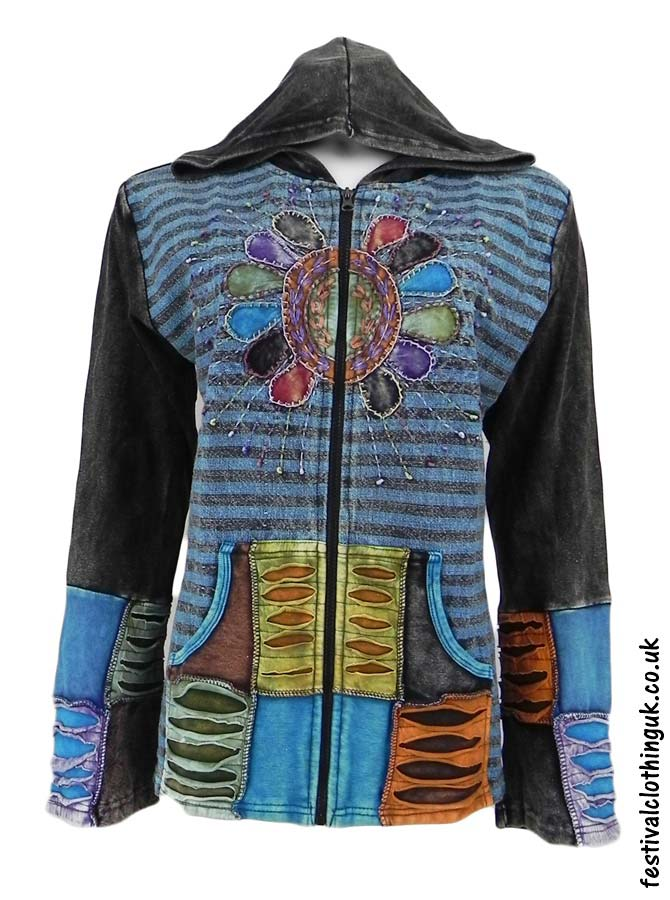Embroidery-Sun-Hooded-Festival-Jacket-Turquoise