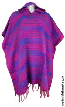 Festival-Hooded-Poncho-Purple-Pink-Turquoise