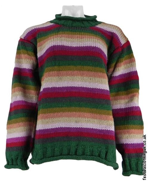 Festival-Wool-Jumper-Striped-Pink-Green