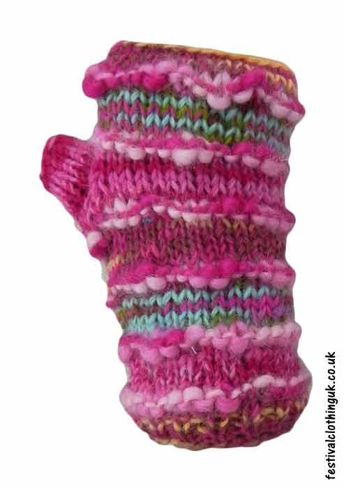 Festival-Wool-Wrist-Warmer-Tube-Gloves-Pink