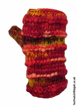 Festival-Wool-Wrist-Warmer-Tube-Gloves-Red