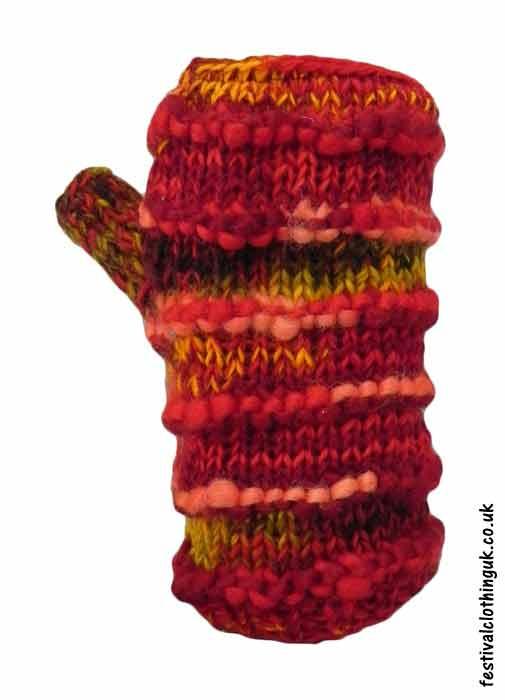Festival-Wool-Wrist-Warmer-Tube-Gloves-Red