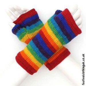 Festival-Wool-Wrist-Warmers-Tube-Gloves-Rainbow