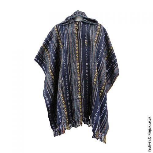 Hooded-Cotton-Festival-Poncho-Blue-Turquoise