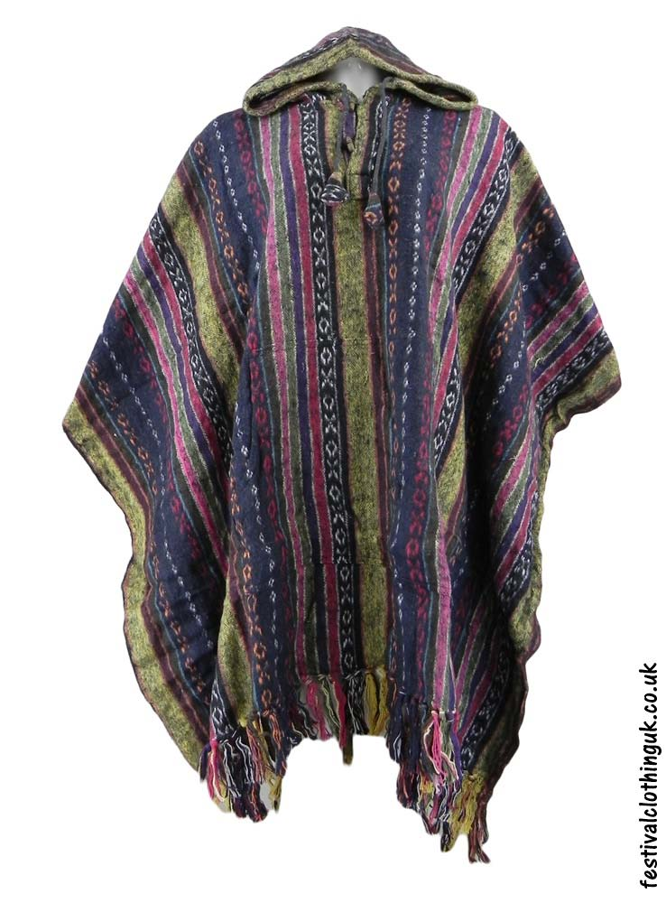 Hooded-Cotton-Festival-Poncho-Cream-Blue-Pink