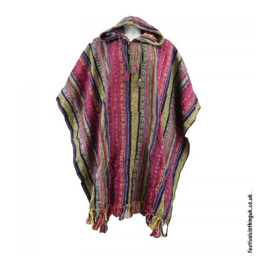 Hooded-Cotton-Festival-Poncho-Cream-Pink-Red