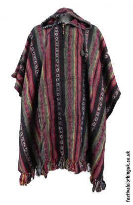 Hooded-Cotton-Festival-Poncho-Red-Black