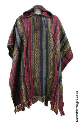 Hooded Cotton Festival Poncho Red Blue Green