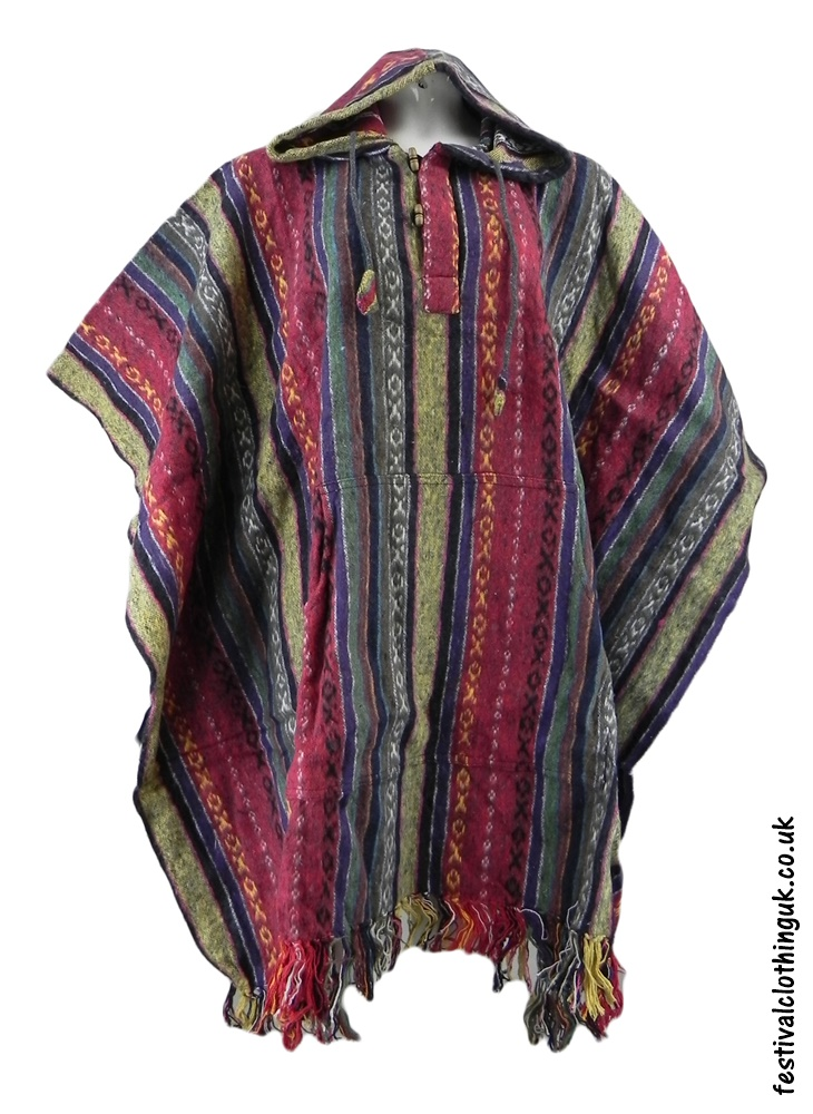 Hooded Cotton Festival Poncho Red Cream