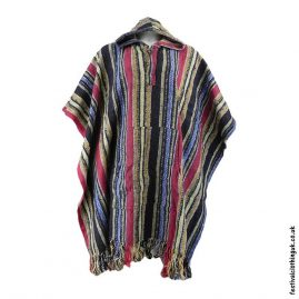 Hooded-Cotton-Festival-Poncho-Yellow-Red-Blue