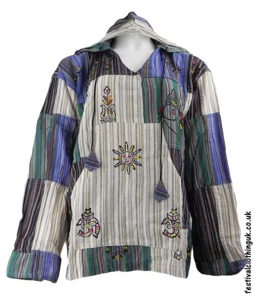 Hooded-Patchwork-Festival-Top-Cream-Brown