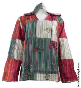 Hooded-Patchwork-Festival-Top-Green-Cream