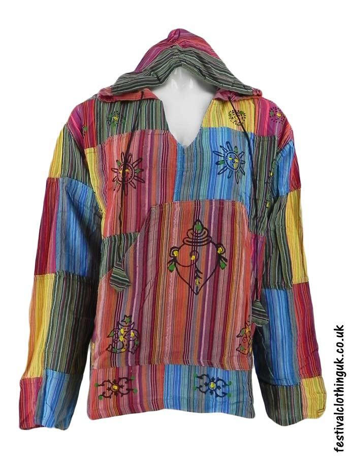 Hooded-Patchwork-Festival-Top-Orange-Red