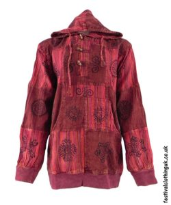 Hooded-Patchwork-Festival-Top-Red