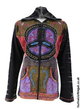 Hooded-Peace-Sign-Festival-Jacket-Black