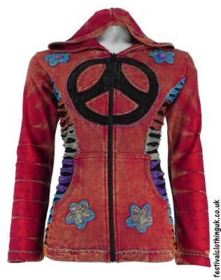 Hooded-Peace-Sign-Festival-Jacket-Red