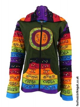 Hooded-Rainbow-Festival-Jacket-Green
