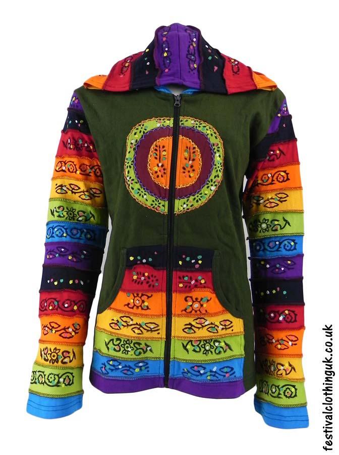 Hooded-Rainbow-Festival-Jacket-Green