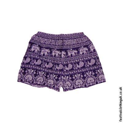 Ladies-Elephant-Festival-Shorts-Purple