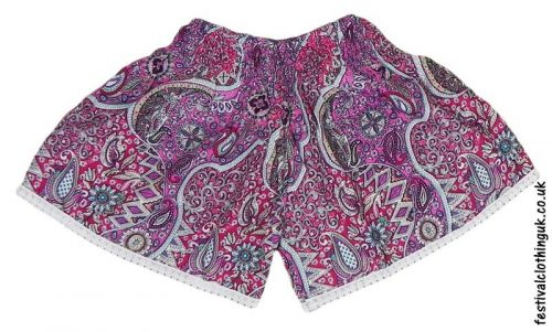 Ladies-Festival-Shorts-with-Lace-Trim-Pink