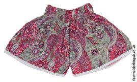 Ladies-Festival-Shorts-with-Lace-Trim-Red