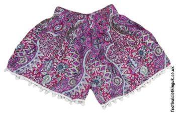 Ladies-Festival-Shorts-with-Mini-Pom-Poms-Pink