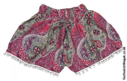 Ladies-Festival-Shorts-with-Mini-Pom-Poms-Red