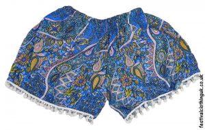 Ladies-Festival-Shorts-with-Mini-Pom-Poms-Turquoise